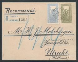 1904 Mi 137 + 138 Athénból Utrechtbe küldött ajánlott levél előlapján (kartonra ragasztva)