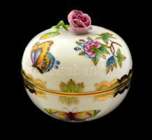 Herendi Viktória mintás bonbonier, kézzel festett, jelzett, hibátlan, m:10 cm, d:11 cm