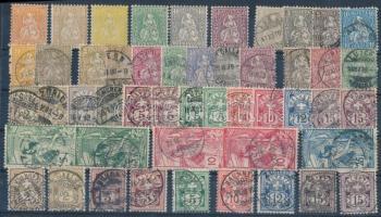 Svájc 1862-1882 6 klf falcos érték + 43 db bélyeg, jobbakkal stecklapon