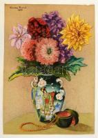 Kardos Brúnó (1877-1952): Virágcsendélet japán vázával. Pasztell, papír, foltos, jelzett, 48×33 cm