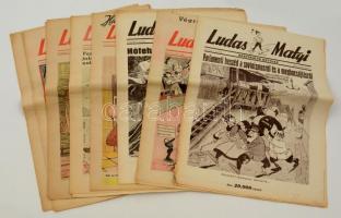 1945-1946 Ludas Matyi 8 szám, I. évf. 7. szám, II. évf. 6., 8.-12.,14. számok, változó állapotban.