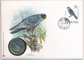 1988. 50Ft Világ Vadvédelmi Alap II. emlékérme felbélyegzett Kék vércse borítékban, bélyegzéssel T:BU