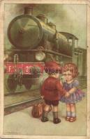 Young couple with F. S. locomotive, farewell, children, Italian art postcard, Barasits János s: A. Bertiglia (EK)