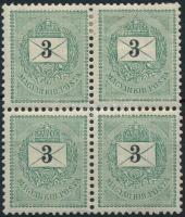 1889 3kr négyestömb, 2 bélyeg postatiszta