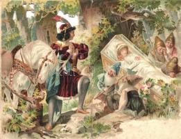 Snow White and the seven dwarves, folding litho postcard (hajtásnál szakadt / bent til broken)