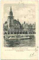 1900 Paris, Exposition Universelle, Rue des Nations / Universal Exposition, the Hungarian and the Britannic royal pavillions, steamship, P. S. a D. Erika 432, G. Delton (kis szakadás / small tear)