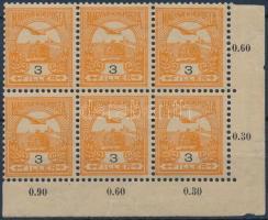 1900 Turul 3f ívsarki hatostömb számvízjellel és csillaggal (alsó ívszél elválóban)