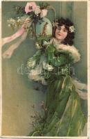 Easter floral greeting card with lady in green, litho (b)