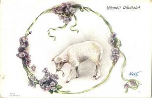 Easter, floral, sheep, B.K.W.I. 4674-3. s: Erwin Granner (EK)