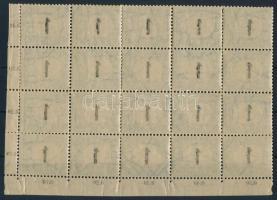 1903 Portó 1f ívsarki húszastömb számvízjellel és csillaggal, az értékszámok részleges gépszínátnyomatával (12.000+++)