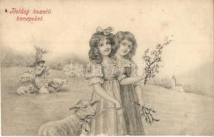 Boldog Húsvéti Ünnepeket! / Easter greeting card, girls with sheep, shepherd (EK)