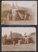 cca 1910-1920 Cséplés gőzgéppel, 2 db fotó, sarkán, szélén kis hiánnyal, 8x11,5 cm