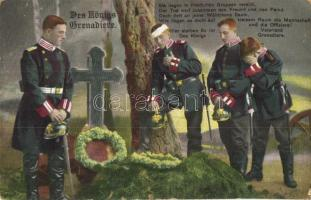 Des Königs Grenadiere / The Kings Grenadiers, WWI K.u.K. soldiers mourning, military grave, R. & K. L. 2161/6 (EK)