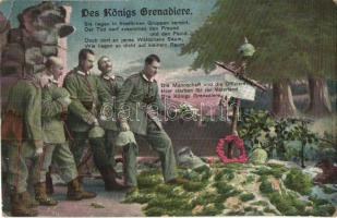Des Königs Grenadiere / The Kings Grenadiers, WWI K.u.K. soldiers mourning, military grave, R. & K. L. 2584/6 (EK)