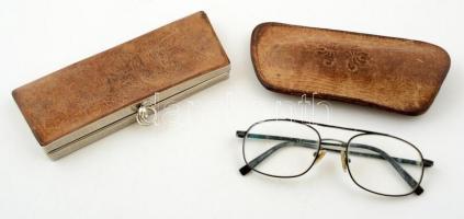 Bőr szemüvegtartó (szemüveggel) és pénztárca, h:15 és 17 cm