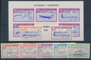 Guernsey-Alderney1964-1966 Európa - Repülő 7 klf felülnyomott bélyeg + blokk