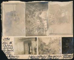 1929 Budapest, Életképek a Tabánból, papírra felragasztott, jegyzetekkel ellátott képek, 6 db, 4,5x3 és 9x6 cm közötti méretekben