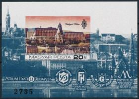 1984 Duna-parti szállodák Budapesten vágott blokk (4.000)