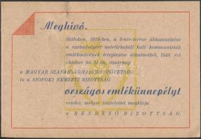 1919 Siófok, Meghívó a fehérterror alatt meghalt kommunisták emlékművének felavatására