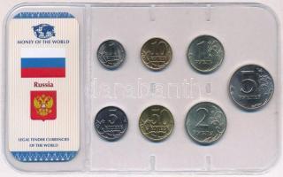 Oroszország 1998-2007. 1k-5R (7xklf) forgalmi szett lezárt vákuumcsomagolásban, tanúsítvánnyal és angol nyelvű leírással T:1 Russia 1998-2007. 1 Kopek - 5 Rubles (7xdiff) coin set in vacuum packing with certificate and English text C:UNC