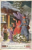 Herzlichen Neujahrsgruß! / WWI K.u.K. New Years greeting, soldier with angel and children, M. M. S. W. III/2. Nr. 1512. s: J. Kränzle (EK)