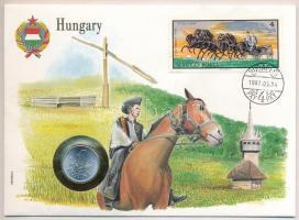 1973. 1Ft Al borítékban Ötös fogat bélyeggel, hátlapján ENSZ bélyegekkel T:1