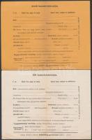 cca 1920-1930 Férfi és női halotti bárca, kitöltetlen formanyomtatvány, hajtott, 2 db