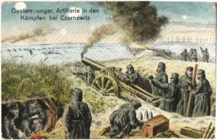 Oesterr.-ungar. Artillerie in den Kämpfen bei Czernowitz / WWI K.u.K. militar artillery in battle bei Czernowitz, M. B. L. 1500. (EK)