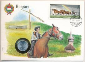 1973. 1Ft Al borítékban Négyes fogat bélyeggel, hátlapján ENSZ bélyegekkel T:1