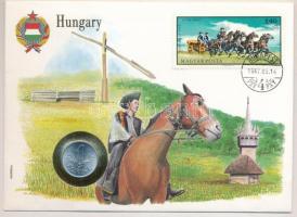 1973. 1Ft Al borítékban Hetes fogat bélyeggel, hátlapján ENSZ bélyegekkel T:1