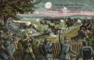Kämpfe gegen die Russen / WWI K.u.K. military repells an attack of the Russian cavalry units, L. & P. 1682. (EB)