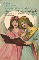 Boldog Karácsonyi Ünnepeket! / Christmas greeting card, angels, litho (b)