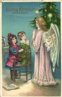 Boldog Karácsonyi Ünnepeket! / Christmas greeting card, angel praying with children, Emb. litho (Rb)