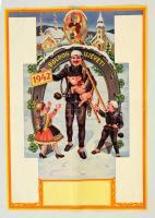 1942 Boldog újévet! - kitöltetlen naptárplakát, kéményseprővel, lóherével, szerencsepatkóval, hajtott, 32x23 cm