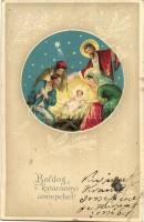 Boldog Karácsonyi Ünnepeket! / Christmas greeting card, the birth of Jesus Christ, decorated litho (EB)