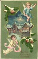 Boldog Karácsonyi Ünnepeket! / Christmas greeting card, decorated with angels, litho, M.S. I. B. (EB)