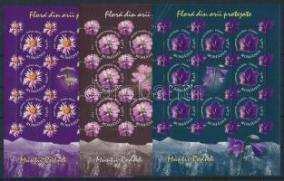 2009 Virágok 3 db klf kisív Mi 6351, 6353, 6354