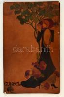 cca 1970 Riesz József (1933-) iparművész által a Gundel étterem számára tervezett festett bőr étlaptartó mappa, kissé kopottas állapotban, 39x23 cm.