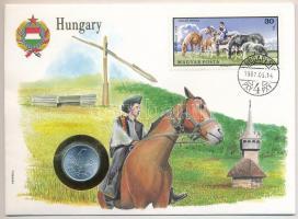 1973. 1Ft Al borítékban Legelő ménes bélyeggel, hátlapján ENSZ bélyegekkel T:1