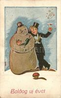 5 db főleg RÉGI új évi üdvözlőlap, köztük litho lapokkal / 5 mostly pre-1945 New Years greeting cards, few litho postcards