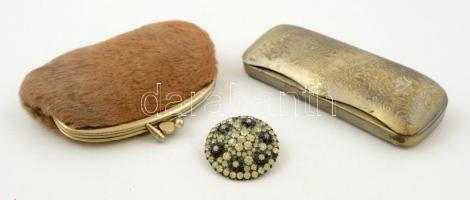 Régi bross, réz szemüvegtartó, szőr borítású pénztárca, 15×5 cm,14×8 cm