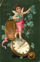 Boldog Új Évet! / New Years greeting card, child with pocket watch, floral decorated litho (kis szakadás / small tear)