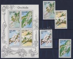 1990 Orchideák sor Mi 557-560 + blokk Mi 72