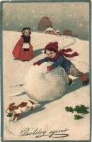 Boldog Új Évet! / New Years greeting card, child playing in the snow with a dog, clovers, litho HWB Ser. 4204 (EB)