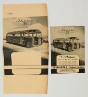 cca 1950-1960 Az Ikarus 30-as busz 2 db próba reklámnyomtatványa