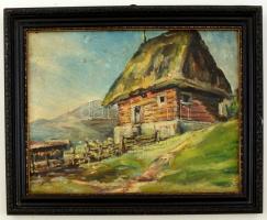 Jelzés nélkül: Alpesi házikó. Olaj, farost, keretben, 26×32 cm