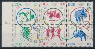 1964 Nyári olimpia ívszéli hatostömb Mi 1039-1044