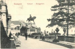 Budapest I. Várkert, Jenő főherceg szobor, Taussig A. kiadása (ázott sarok / wet corner)