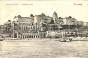 Budapest, Királyi várpalota, gőzhajó, Divald Károly kiadása