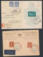 5 alkalmi bélyegzés 1940-1946 Közte levél előlapok